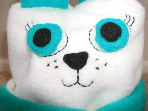 polar bear hat close up